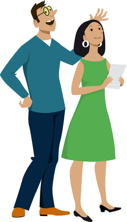 Modern young couple standing observing and discussing something, EPS 8 vector illustration
