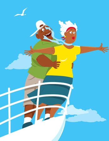 Happy black senior couple recreating  on board of a cruise ship illustration