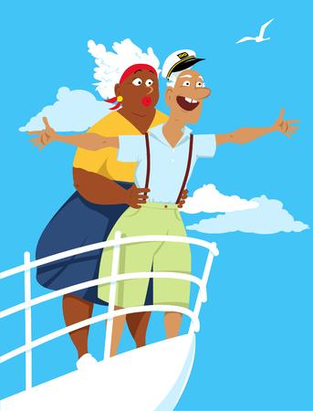 Happy biracial senior couple recreating on board of a cruise ship Illustration