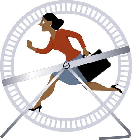 Gestresste Geschäftsfrau, die in einem Hamsterrad läuft