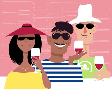 Group of diverse people having wine at a wine tasting tour
