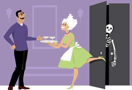 Smiling woman offering cocktails to a guest and shutting a door of a closet with a skeleton inside