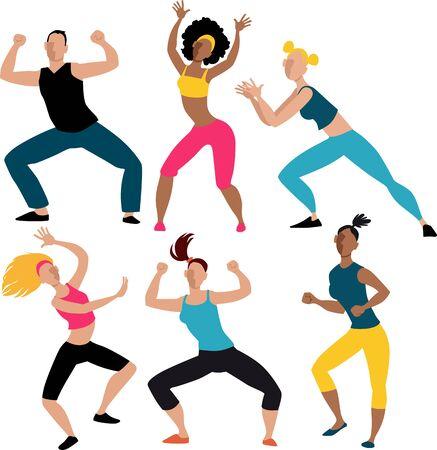 Sześć osób wykonujących ćwiczenia aerobowe podczas ćwiczeń tanecznych