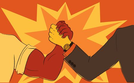 Worker and businessman arm wrestling  illustration in the style of  retro propaganda posters Ilustração