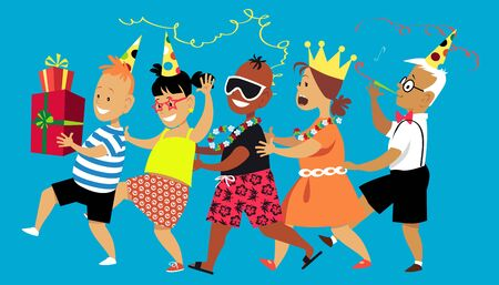 Diverse group of children dancing a conga line, celebrating a birthday