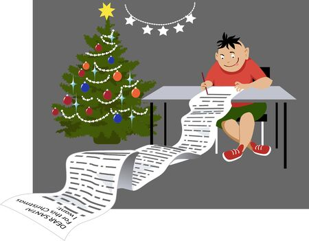 Greedy child writing a letter to Santa Claus with a long list of toys