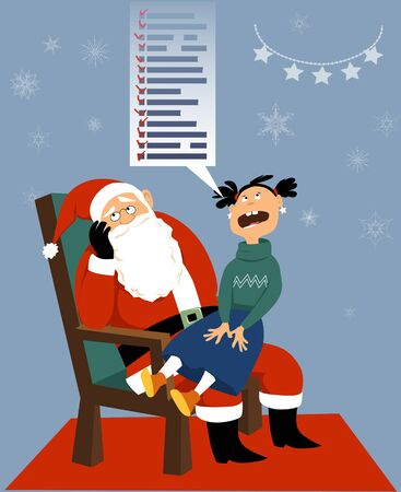 Greedy girl sitting on Santa's laps, listing an endless wish list of gifts