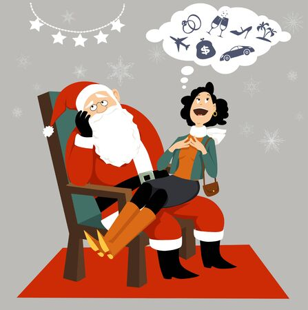 Adult woman sitting on annoyed Santa's laps and expressing her materialistic wishes
