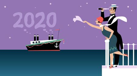 Couple dressed in 1920 fashion greeting a ship representing a new 2020 year