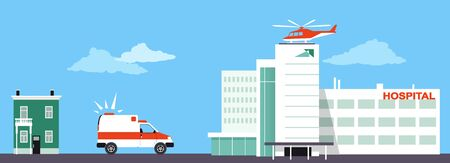 Medical transportation means including an ambulance and medical evacuation helicopter Çizim
