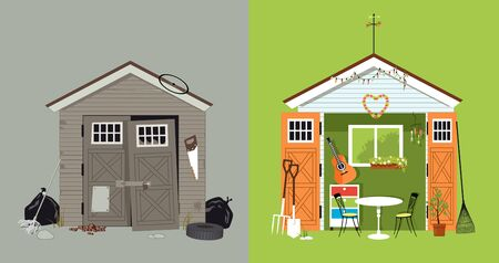 Renovation of a garden shed, before and after picture
