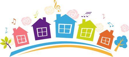 Banner para una fiesta de barrio o barrio con casas multicolores, ilustración vectorial