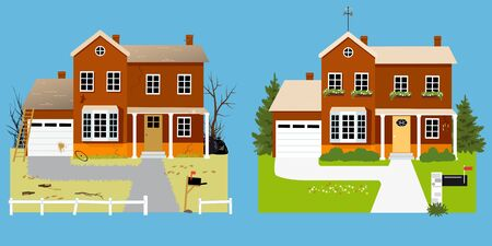House before and after landscaping with improved curb appeal, vector illustration