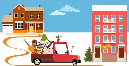 Truck bringing belongings from a family house to a condo building in a process of downsizing and relocation, vector illustration Illustration