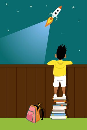 Little boy standing on a pile of books helping him to see a launching rocket ship,  vector illustration