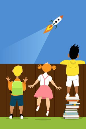 Children trying to watch a launch of a rocket ship, one boy is  standing on a pile of books helping him to see, vector illustration Ilustração
