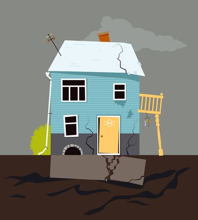 Small family house with foundation problems, vector illustration