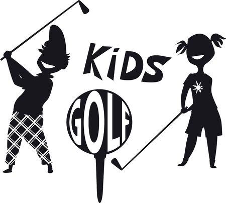 Black silhouette for a junior golf tournament, vector illustration