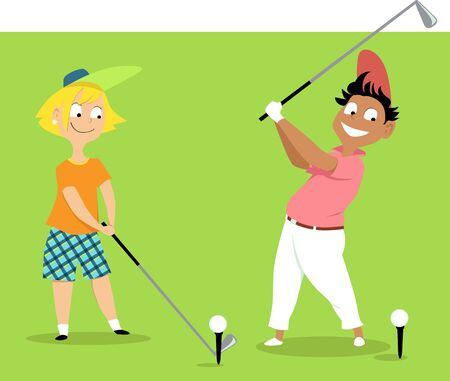 Two cute cartoon kids playing golf, vector illustration