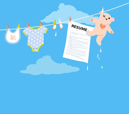 Job applicant resume hanging on a clothesline together with baby clothing as a metaphor for a maternity leave, vector illustration
