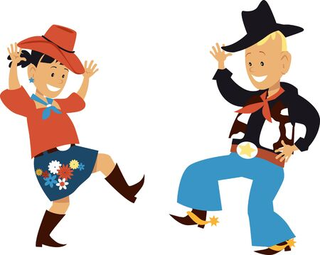 Two cute cartoon kids dancing western country style, vector illustration