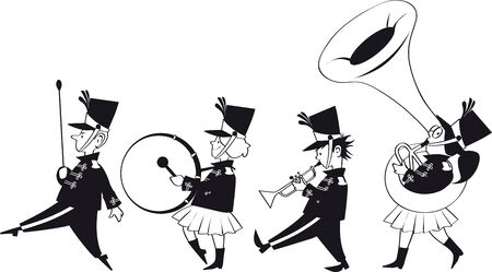 Four cute kids in marching band, vector illustration