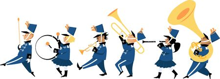 Cute children playing instruments in a marching band parade, vector illustration
