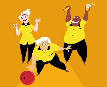 Three active seniors playing bowling, vector illustration