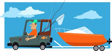 Man going fishing, towing a motor boat on a trailer behind a car, vector illustration Illustration