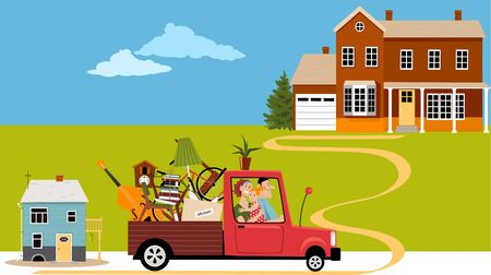 Young family relocating from a small house to a new bigger home, vector illustration