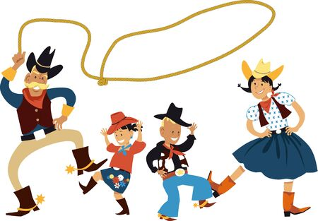 Family dancing a country western dance with lasso,  vector illustration Stock Illustratie