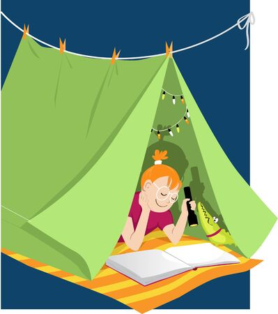 Little girl reading with a flashlight in a blanket fort, shadow shows pirate ship, vector illustration