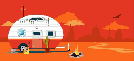 A camper trailer in a Western American desert landscape, vector illustration