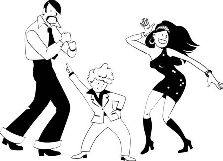 Family dressed in 1970s fashion dancing disco, EPS8 vector line art, no white objects Illusztráció