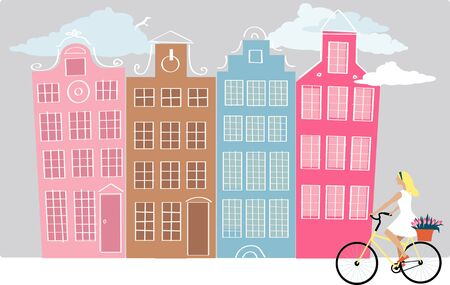 Amsterdam street with a young woman riding bicycle, vector illustration