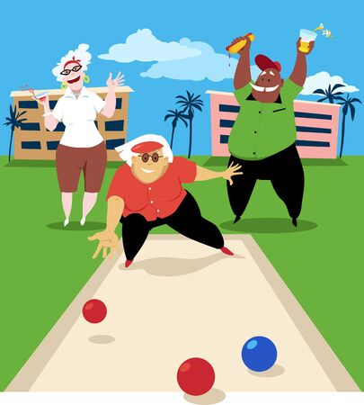 Group of active seniors playing bocce ball, vector illustration