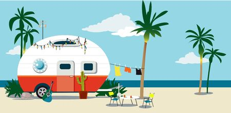 A camper trailer at the beach under palm trees, vector illustration Illustration