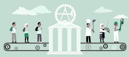 Escuela vocacional que convierte a los adultos jóvenes en profesionales del comercio, ilustración vectorial
