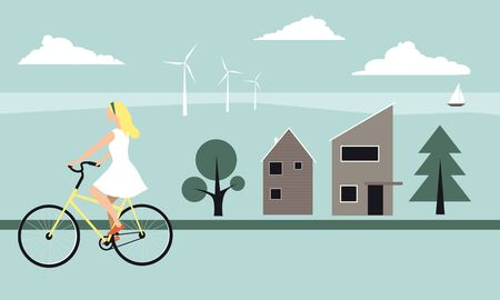 Young blond woman riding a bicycle across a modern Scandinavian landscape, illustrating a lifestyle concept of lagom, vector illustration