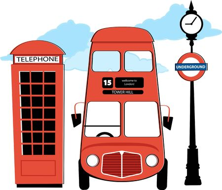 London double decker bus, red telephone booth and underground sign,  vintage inspired vector illustration