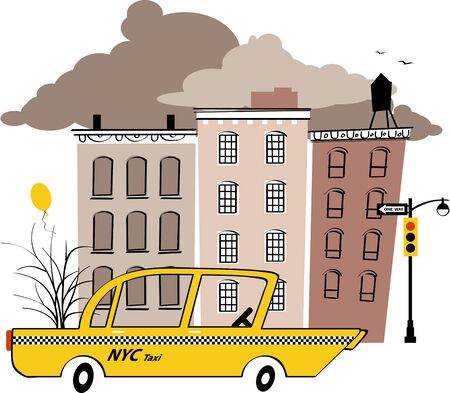 Yellow taxi cab in the typical New York street, vintage inspired vector illustration