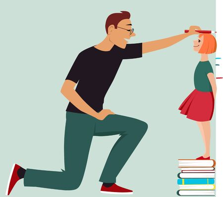 Little girl standing on a pile of books, her father measuring her height, Vector illustration