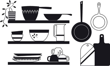 Modern Scandinavian rustic style kitchenware on shelves, Vector illustration