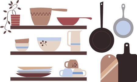 Modern Scandinavian rustic style kitchenware on shelves, Vector illustration