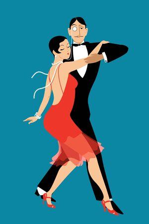 Couple dressed in vintage fashion dancing tango, Vector illustration Illustration