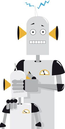 Robot parent covering eyes of a baby robot representing parental control in a digital world, Vector illustration Çizim