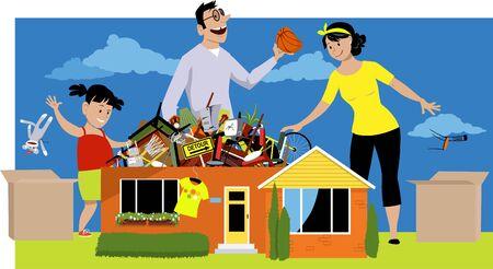 La famiglia declutter la loro casa accumulata, buttando via le cose, illustrazione vettoriale Vettoriali
