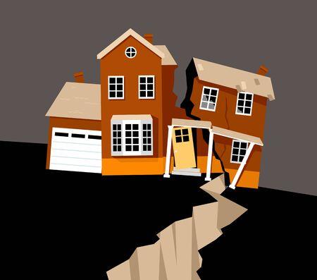 Una casa gravemente dañada por el terremoto, ilustración vectorial