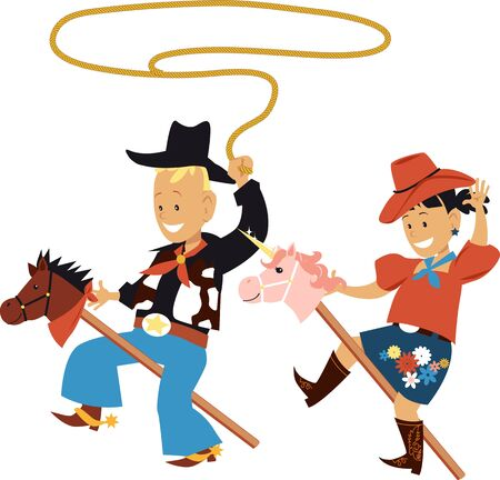 Two cute kids in cowboy  cowgirl outfits riding stick ponies,  vector illustration