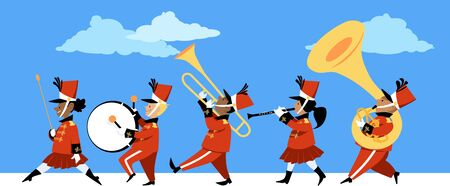 Cute children playing instruments in a marching band parade, Vector illustration Archivio Fotografico - 128338909